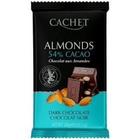 Шоколад чорний Cachet 54% Dark Chocolate with Almonds 300 г