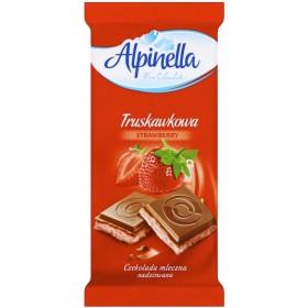 Шоколад Alpinella Truskawkowa молочний зі смаком полуниці 90 г