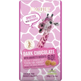Шоколад чорний Cachet Tanzania Dark 60% Amaretti Biscuits 180 г