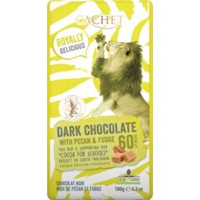 Шоколад чорний Cachet Tanzania Dark 60% Chocolate with Pecan & Fudge 180г
