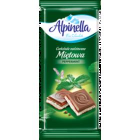 Шоколад Alpinella Mietowa молочний зі смаком м'яти 90 г