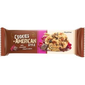 Печиво American Cookies with Chocolate Chips and Raisins з шматочками шоколаду та родзинками 135 г